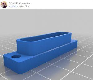 3D geprinte DB23 connector (Zonder pinnen)