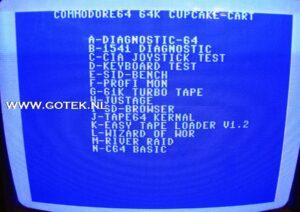 Menu scherm van de Cupcake Cartridge